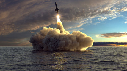 cruise missile launched from the water 3d illustration