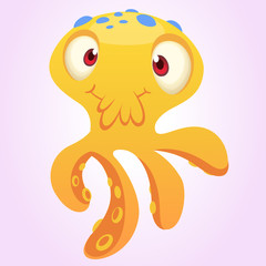 Cute yellow octopus cartoon.  Vector isolated