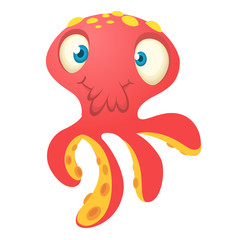 Cute red octopus cartoon. Vector isolated