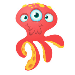 Cute red octopus alien monster cartoon. Halloween vector illustration isolated