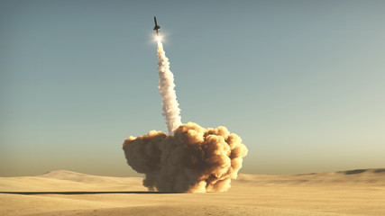 rocket start from desert 3d illustration