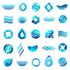 Water icon set. Vector logo design