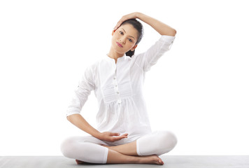 Portrait of woman practicing yoga