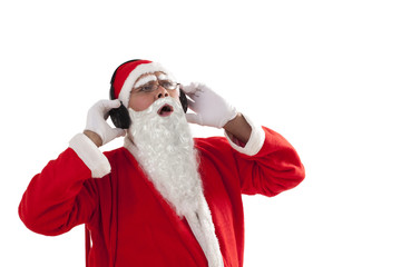 Santa Claus listening to music over white background