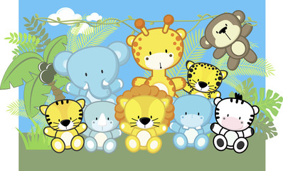 cute baby animals and jungle plants, children's design