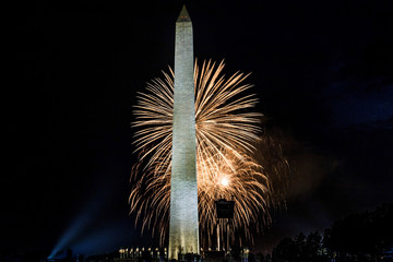 Fireworks on the mall in Washington DC on the 4th of July 2017