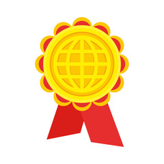 Gold medal / award red trim with a picture of the globe. Flat design
