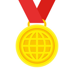 Gold medal trophy with a picture of the globe on a red ribbon. Flat design