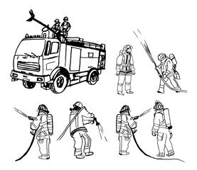 fireman illustration set