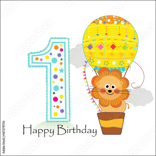 First birthday with hot air balloon and lion happy birthday first birthday with hot air balloon and lion happy birthday greeting card m4hsunfo