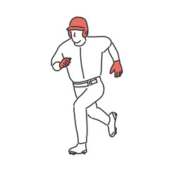 Baseball player and softball player, line drawing. hand drawn. vector illustration.
