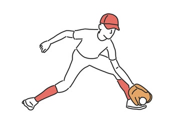 Baseball player and softball player, line drawing. hand drawn. vector illustration.