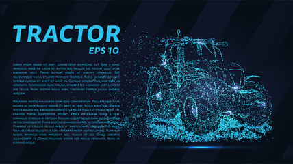 The tractor which consists of points. Particles in the form of a tractor on a dark background. Vector illustration. Graphic concept of the agricultural business