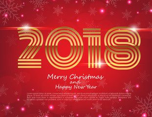 Happy New Year 2018 text design. Vector greeting illustration with golden numbers and snowflake background