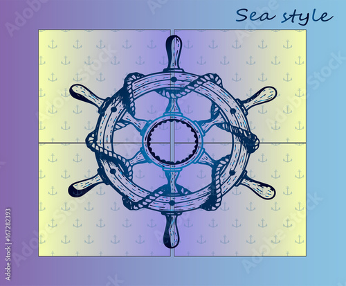 Steering wheel of the ship is water transport  Sea style