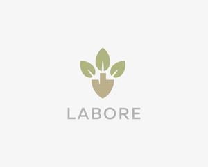 Abstract shovel leaf logo design. Organic farm vector logotype.