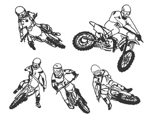 motocross racing illustration set