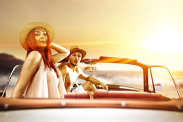 two lovers in retro car