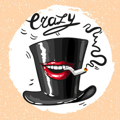 Crazy hat with mouth and sigarette smoking vector art