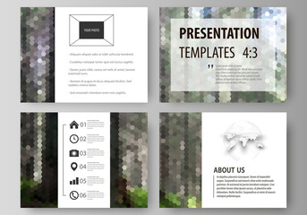 Presentation slide templates. Easy editable abstract vector layouts in flat design. Colorful background, hexagonal texture, travel business, natural landscape, polygonal style.
