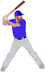 baseball player detailed illustration 6 - vector