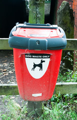 close up red box for disposal of dog waste
