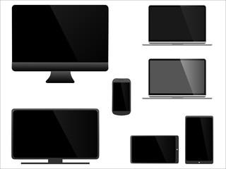 Ensemble de moniteurs gris et noirs modernes, ordinateur, ordinateur portable, tablette, téléphone et télévision