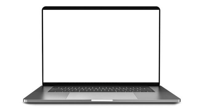 Laptop with blank screen isolated on white background, white aluminium body.Whole in focus. High detailed. Template, mockup.