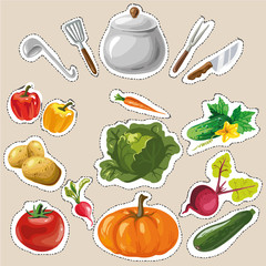 Set collection with vegetables stickers patches fashion badges