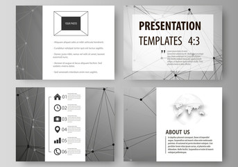 Set of business templates for presentation slides. Easy editable abstract vector layouts in flat design. Chemistry pattern, molecule structure on gray background. Science and technology concept.