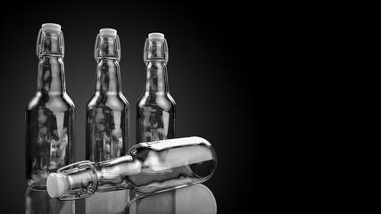Beer bottle with blank label side by side. 3d illustration.