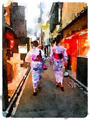 Digital watercolor painting of two ladies in Kyoto; Japan; each wearing a Kimono walking through a narrow street in the Gion area.