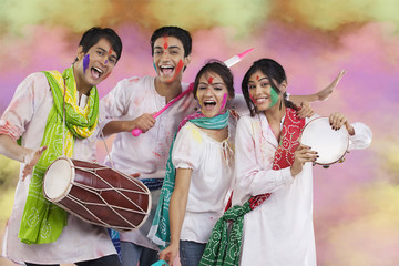 Friends having fun during holi