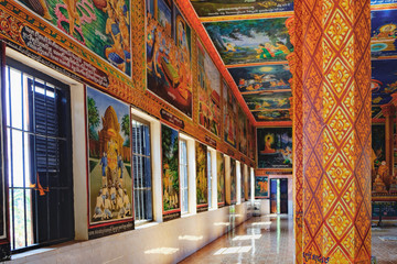 The interior of modern Theravada Buddhist monastery, which is built near the historical Lolei temple in Siem Reap, Cambodia