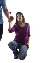 Girl proposing to her boyfriend