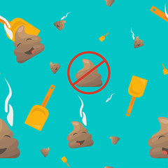 Poop Seamless Vector Pattern: poo emoji or shit character, shovel and no pooping sign.