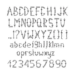 English alphabet in ethnic style