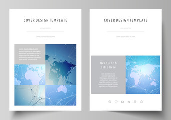 The vector illustration of the editable layout of A4 format covers design templates for brochure, magazine, flyer, booklet, report. World map on blue, geometric technology design, polygonal texture.