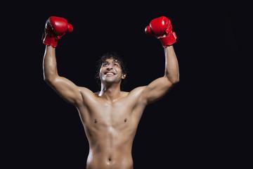 Smiling boxer enjoying success
