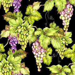 Seamless pattern with grapes. Hand draw watercolor illustration.