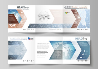 The minimalistic vector illustration of the editable layout. Two modern creative covers design templates for square brochure or flyer. Scientific medical DNA research. Science or medical concept.