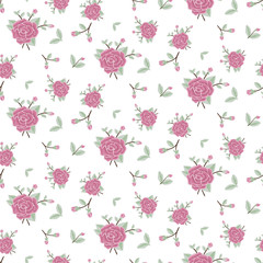 Seamless floral pattern rose flowers, pastel colors, vector illustration