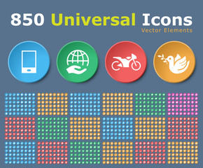 Set of 850 Universal Isolated Icons on Circular Color Buttons on Color Background. Isolated Vector Elements