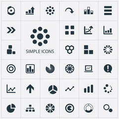 Vector Illustration Set Of Simple Chart Icons. Elements Task, Pie Bar, Loading And Other Synonyms Surge, Progress And Composition.
