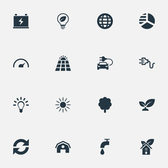 Vector Illustration Set Of Simple Green Icons. Elements Earth, Reuse, Bulb And Other Synonyms Bulb, Supply And Panel.