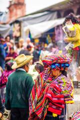 Indigenous maya market in Chichicastenango in Guatemala