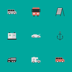 Vector Illustration Set Of Simple Shipping Icons. Elements Van, Minibus, Stairs And Other Synonyms Minibus, Stairway And Caravan.