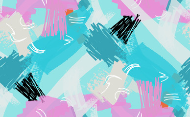 Abstract scribbles turquoise pink