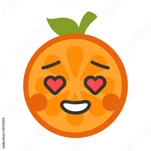 In love emoji  In love orange fruit emoji with the hearts