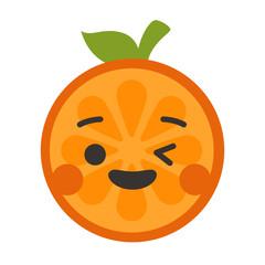 Wink emoji. Winking smiley orange fruit emoji. Vector flat design emoticon icon isolated on white background.
